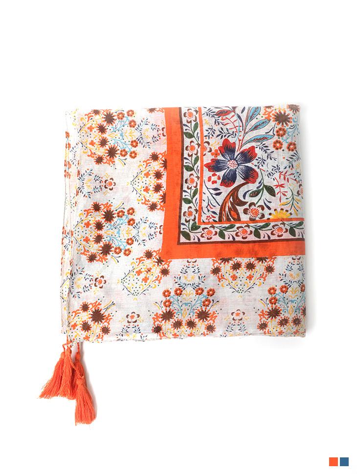 AS-1462 덴므 Flower Cotton tassel Scarf(35th REORDER)