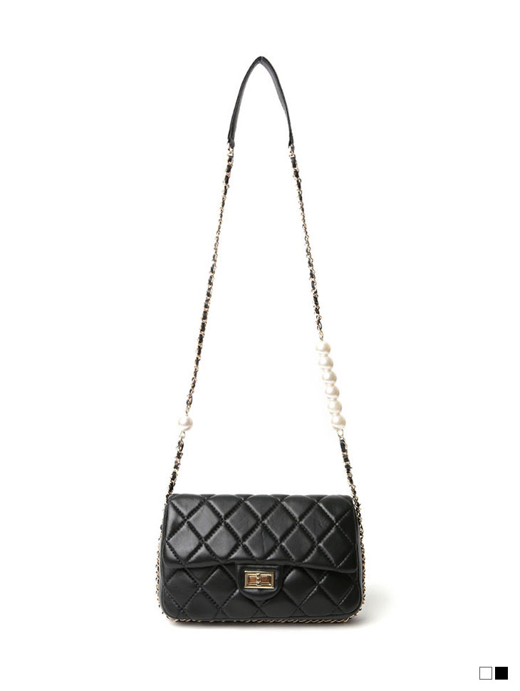 A-1172 quilting real leather pearl Chain Cross bag