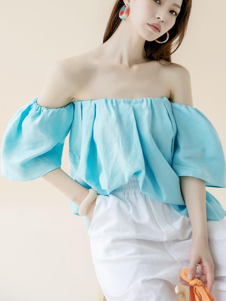 B2601 Linen off shoulder blouse