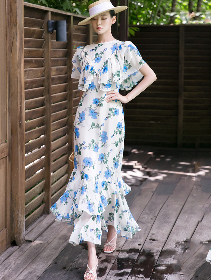 D9101 Hien Flower Printing Dress