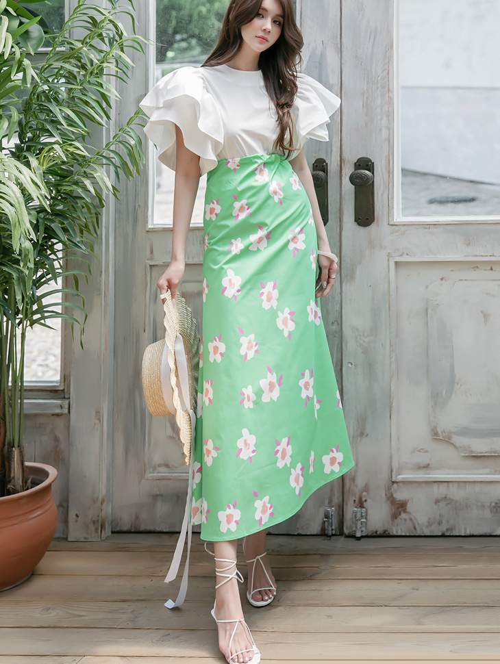 SK2078 unique Flower Pattern skirt