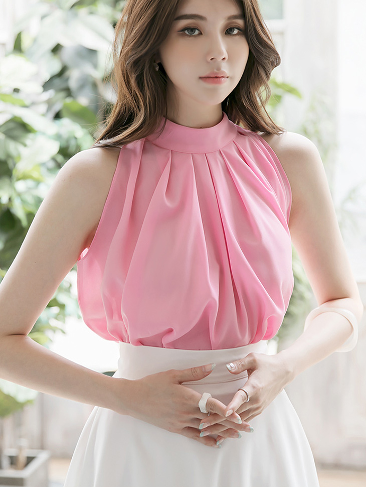 B2605 테니 Halter neck Scarf blouse(10th REORDER)