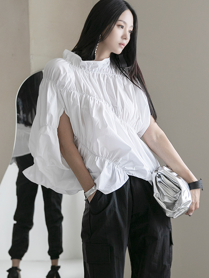 B2611 샤룬 unique wrinkle Unbalance blouse(8th REORDER)