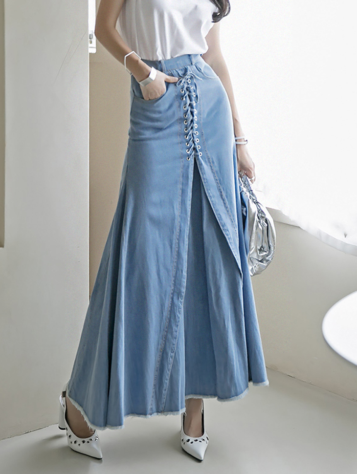 SK2083 벤느 eyelet cutting Long skirt(4th REORDER)