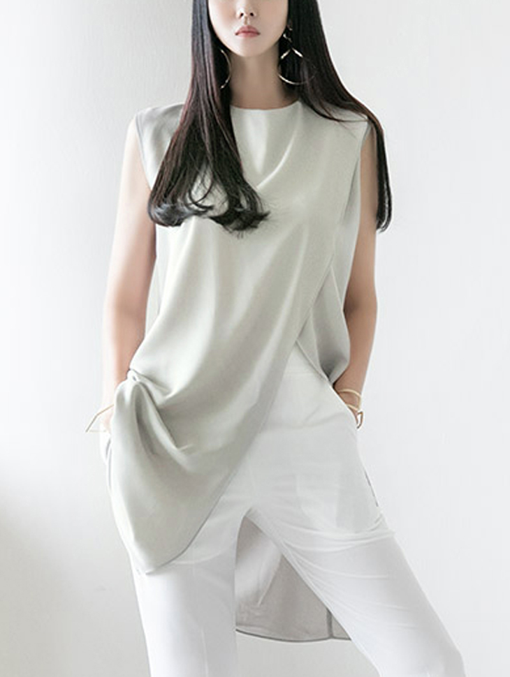 B2610 warp Sleeveless Long blouse(String SET)