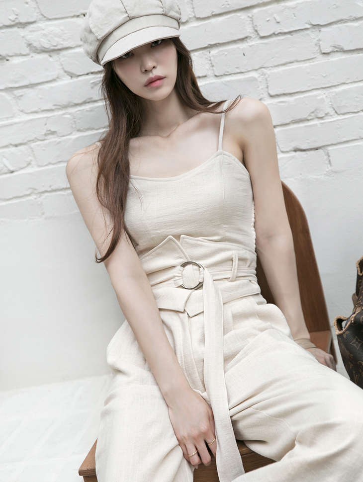 E2288 Linen banding Sleeveless Top*With Cap*