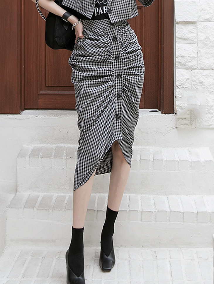 SK2086 Check Pattern Shirring skirt