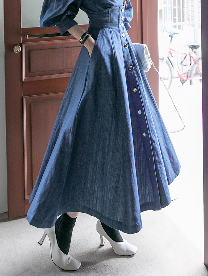 SK2084 Linen Denim Gold Button skirt