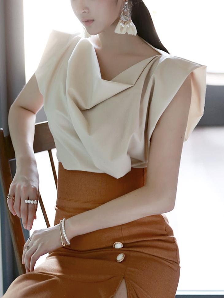 B1519 cowl neck Elegant blouse(144th REORDER)