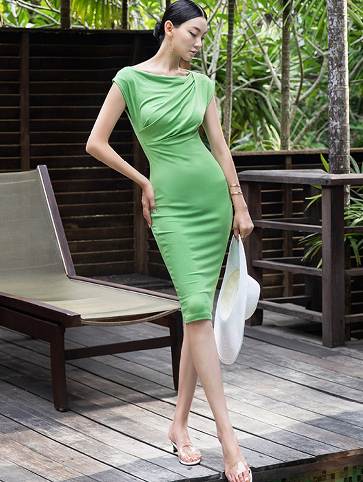 D3854 cowl neck Stretch Dress(18th REORDER)