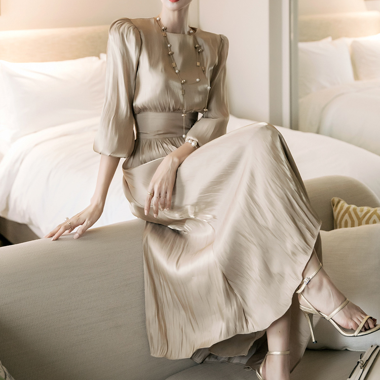 Korean D4110 데번 Satin Long Dress*GOLD Lsize Production*(70th REORDER)