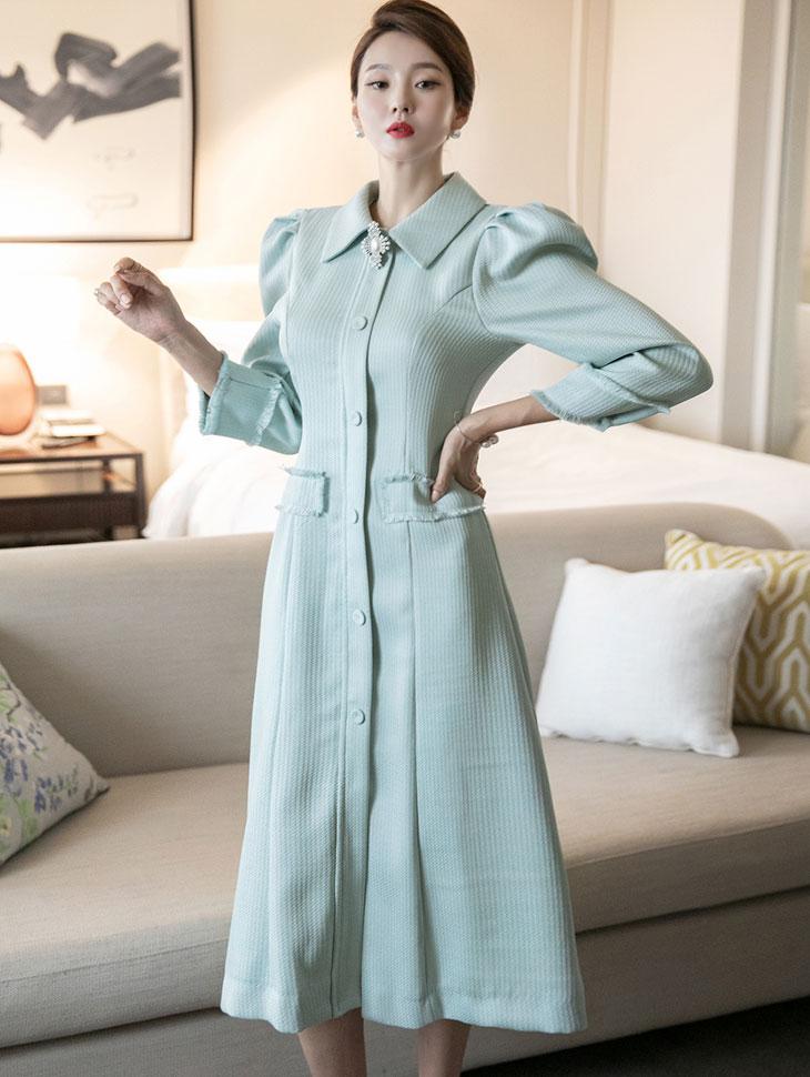 D4109  Tweed Puff Dress