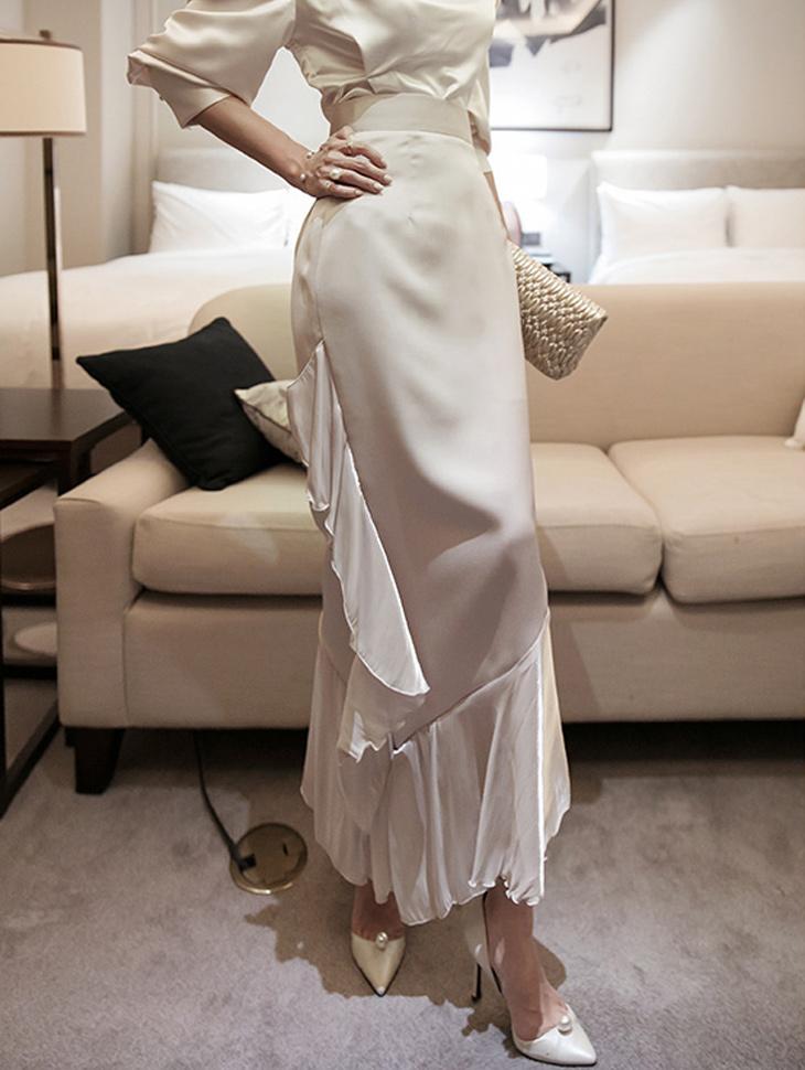 SK9082 Unbalance ruffle skirt
