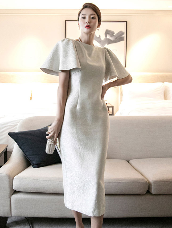 D9194 Pearl Bell line Dress