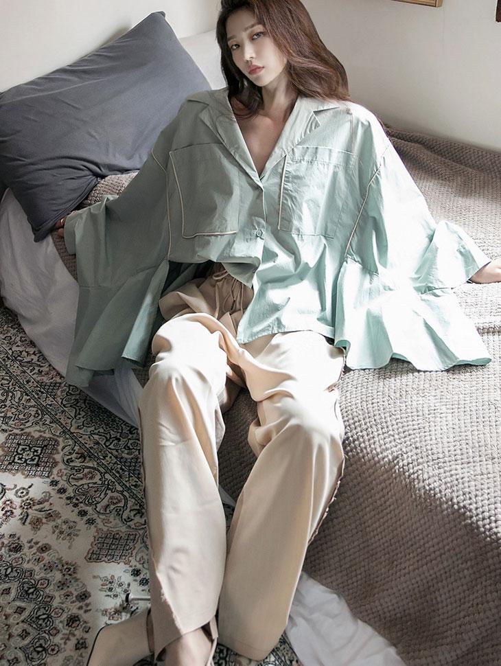 S397 wide Frill Color scheme Line Shirt