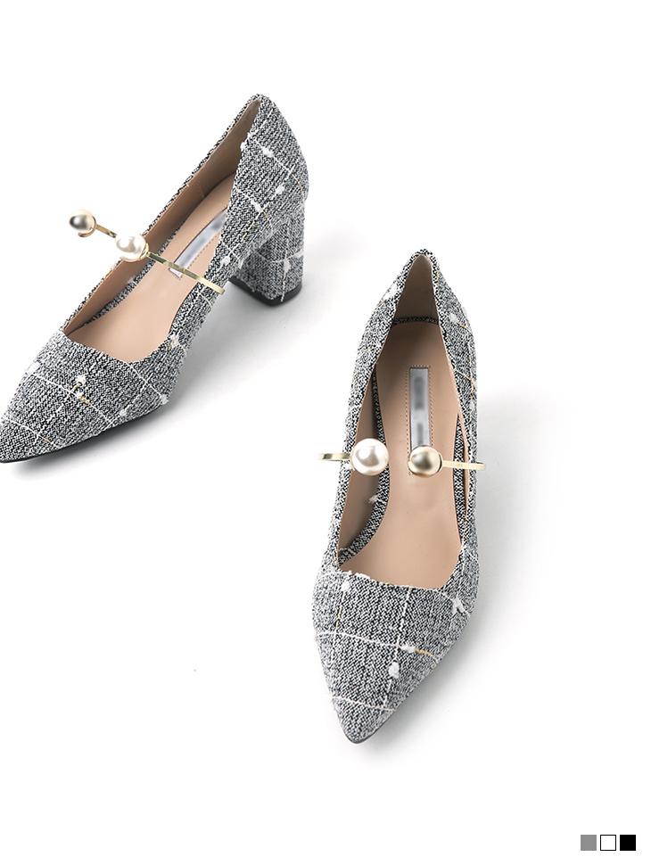 AR-2610 Tweed pearl ring High heels