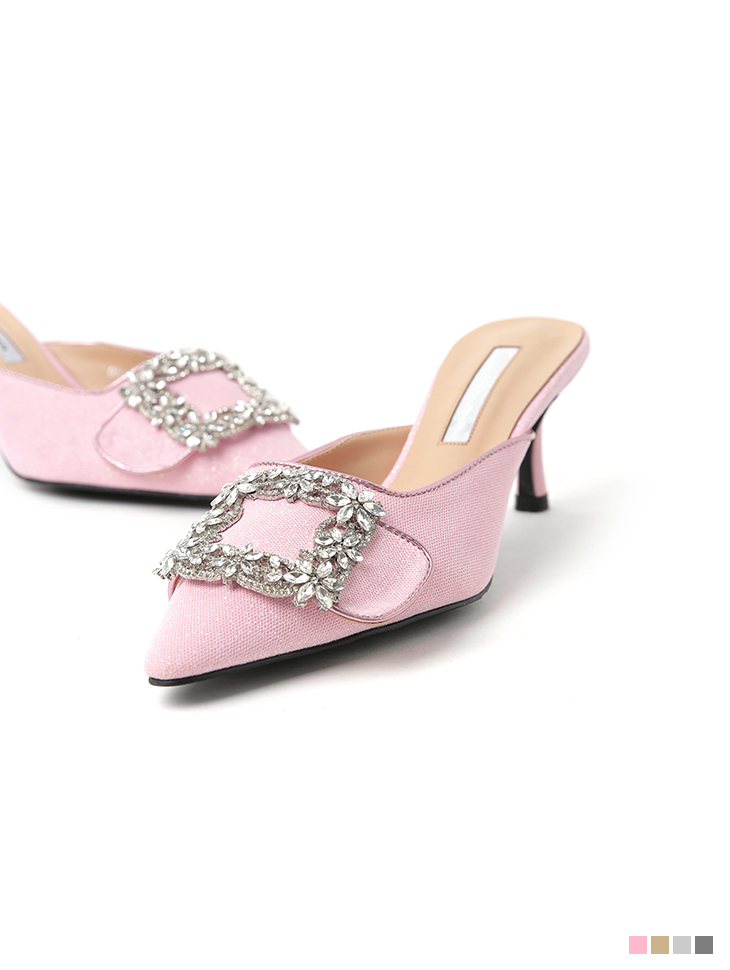 AR-2613 Shining square cubic Buckle mule