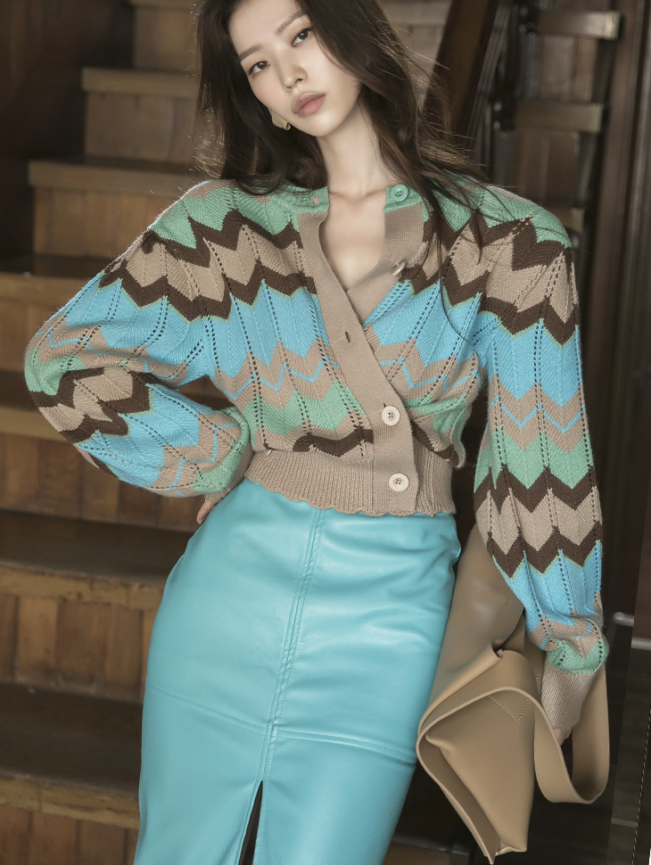 J1049 Color scheme Pattern wool Cardigan*Front and rear wearable,Can be worn as a Top*