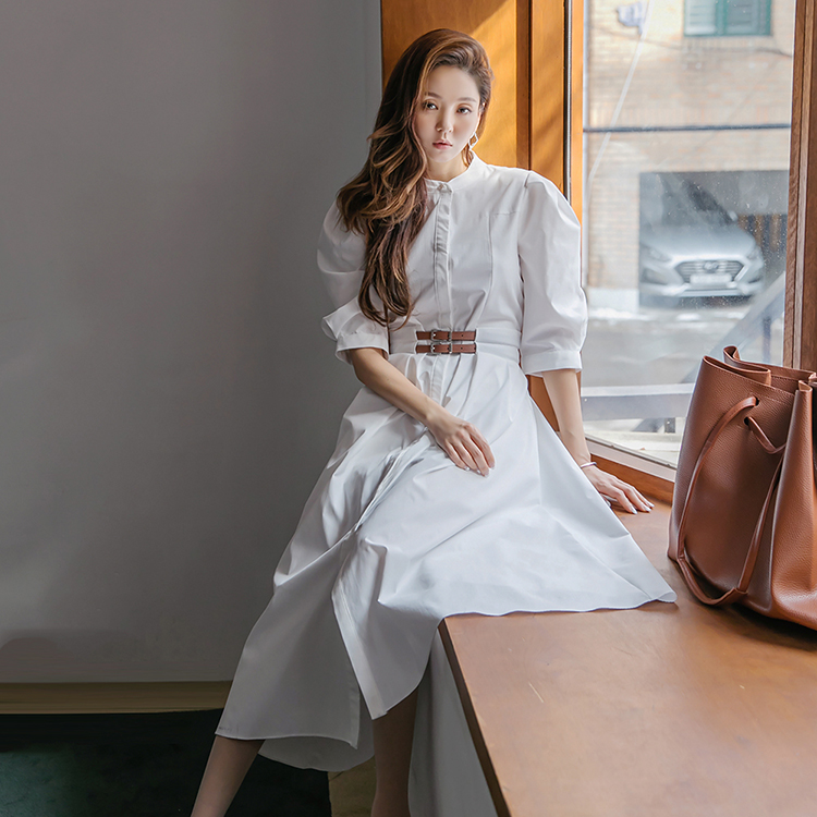 Korean D4188 Henly neck Puff flare Long Dress*WHITE Lsize Production*(6th REORDER)(Stocked in mid-April, scheduled to be shipped sequentially)