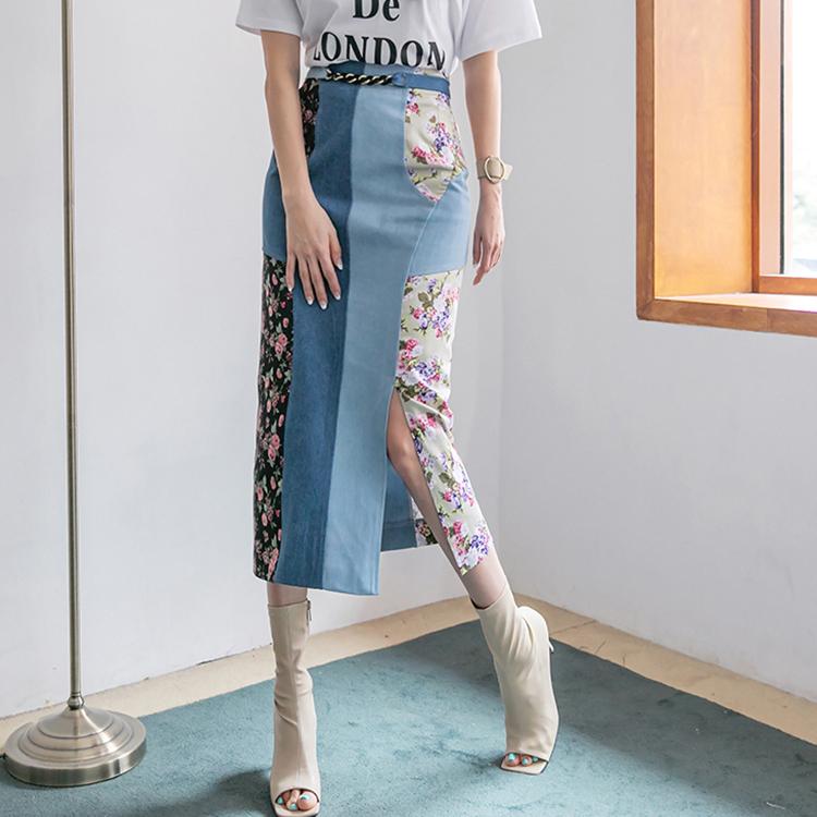 Korean SK2159 Slim Flower Color scheme Denim Long skirt(Belt set)(9th REORDER)