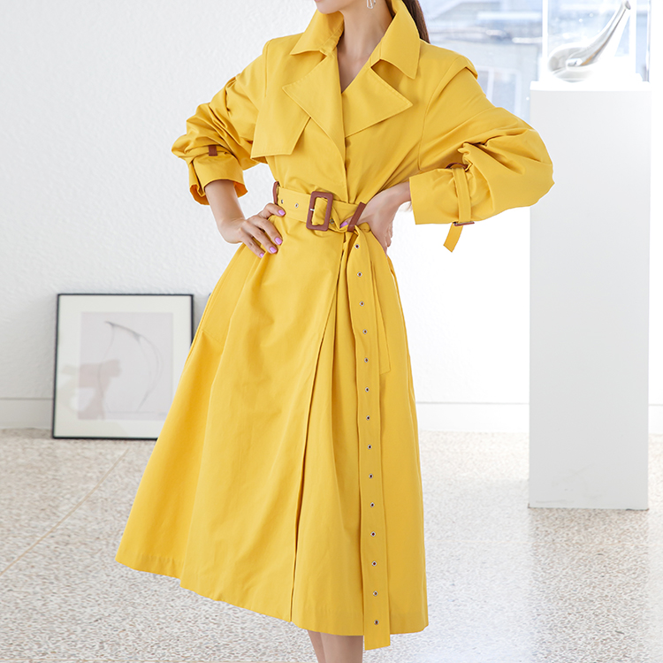 Korean J1206 classic Color scheme trench coat(Belt set)*Can be worn as a dress*(3rd REORDER)
