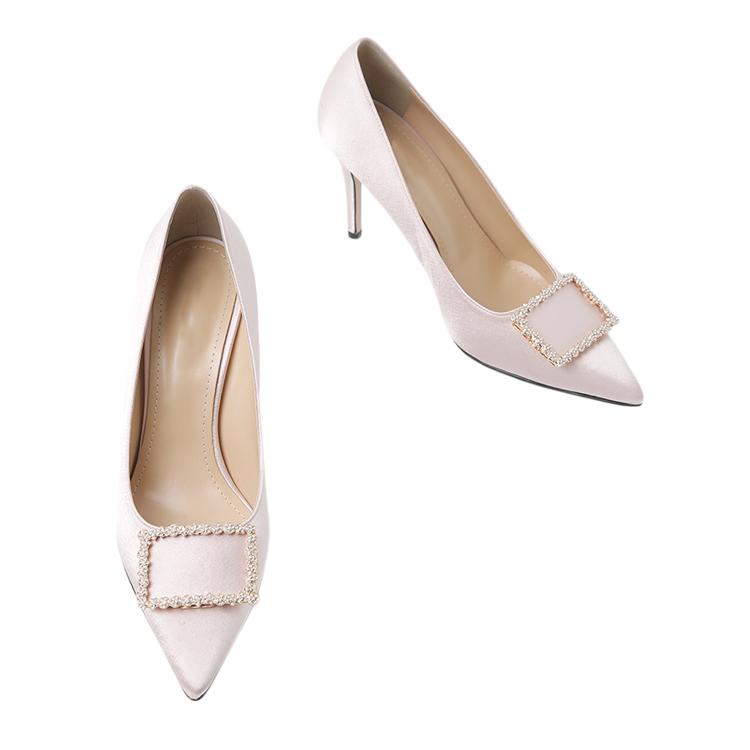 Korean HAR-686 Shine Satin cubic High heels Pumps*HAND MADE*