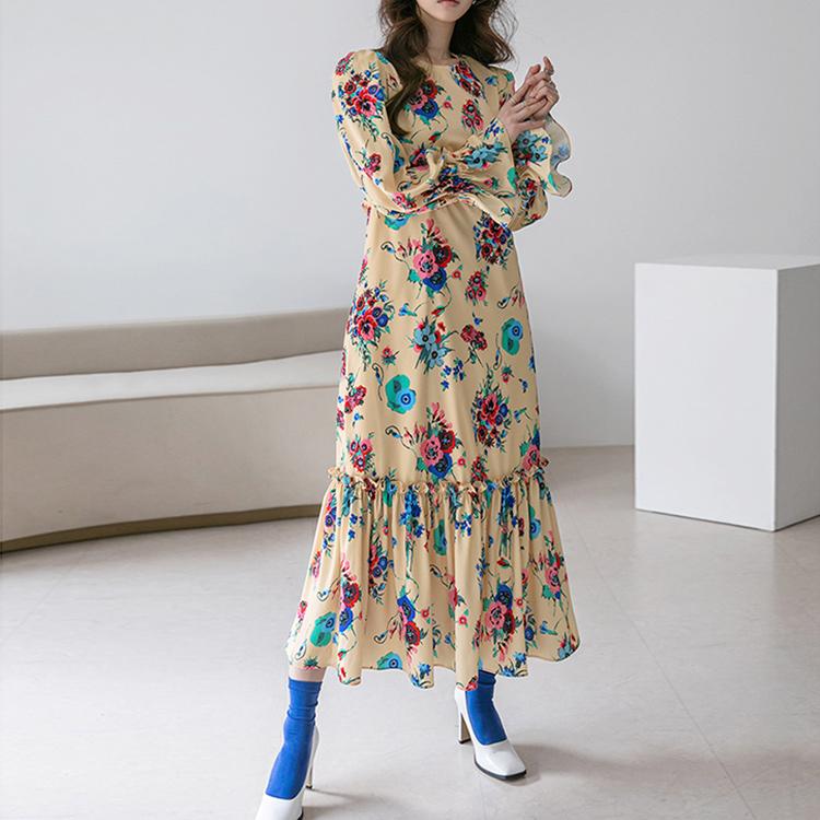 Korean D4190 floral Pad Long Dress(18th REORDER)