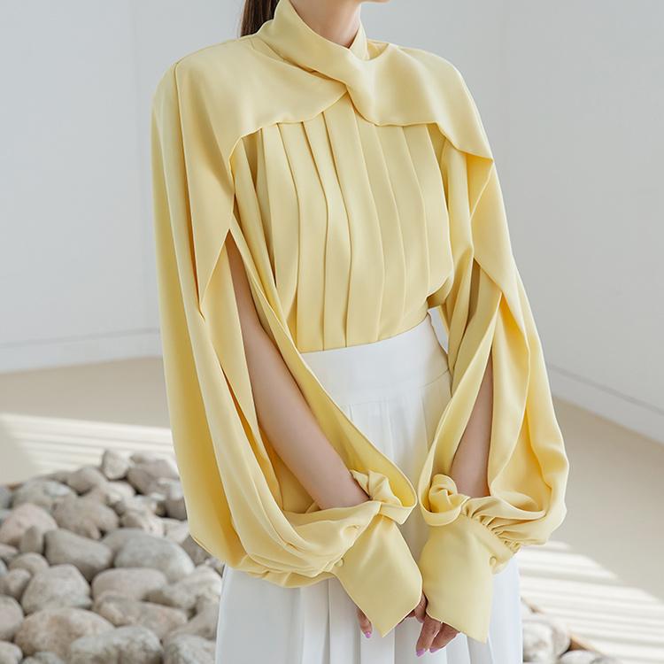 Korean B9074 cape accordion pin tuck blouse