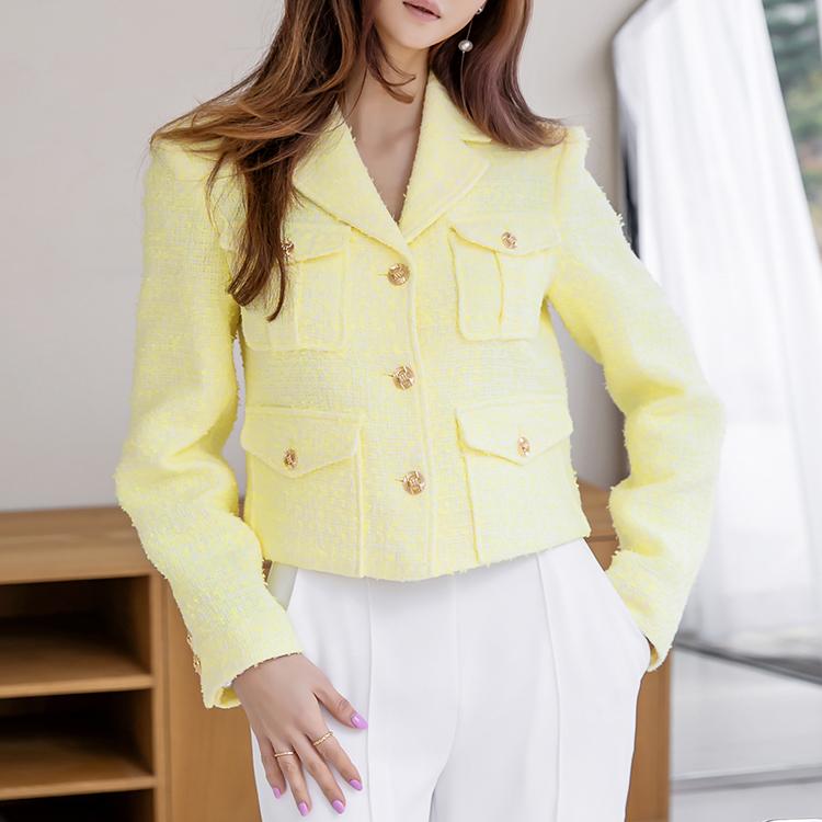 Korean J1204 spring Gold-Button Tweed Jacket