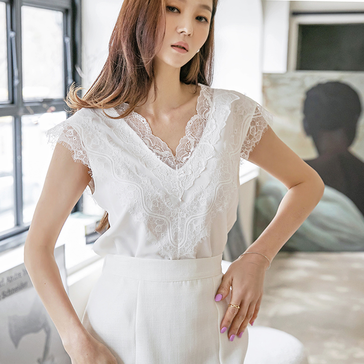 Korean B2653 이스 Silk Lace Sleeveless blouse(9th REORDER)