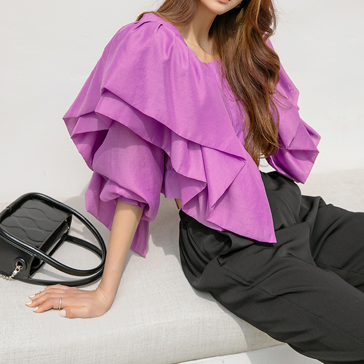 Korean B2654 pin tuck Double Frill blouse(6th REORDER)