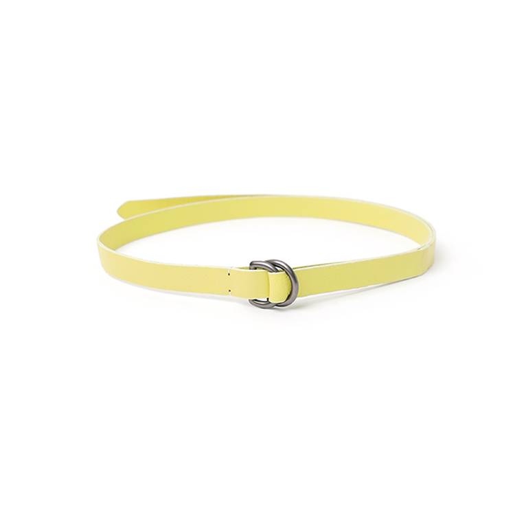 Korean AT-413 Double ring thin Leather Belt